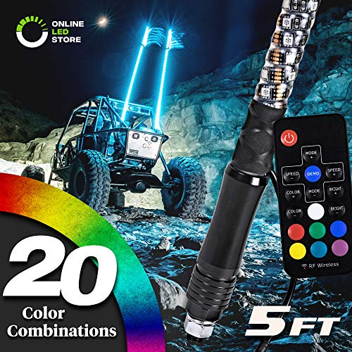 5ft Spiral LED Whip Lights w/Flag [21 Modes] [20 Colors] [Wireless Remote] [Weatherproof] Lighted Antenna Whips - Accessories for ATV Polaris RZR 4 Wheeler