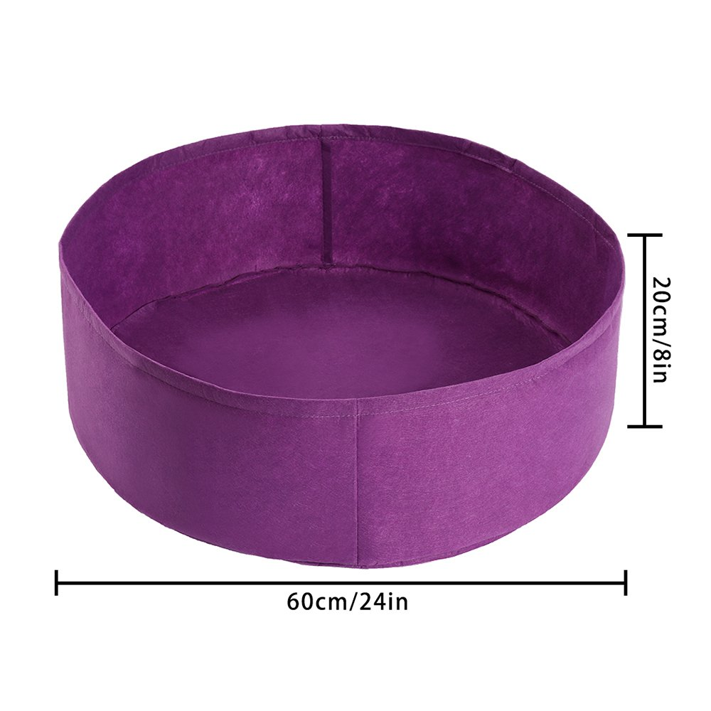 Fabric Raised Planting Bed Round Garden Grow Bag for Herb Flower Vegetable Plants Dia 24 x H 8, Purple pannow Raised Garden Bed