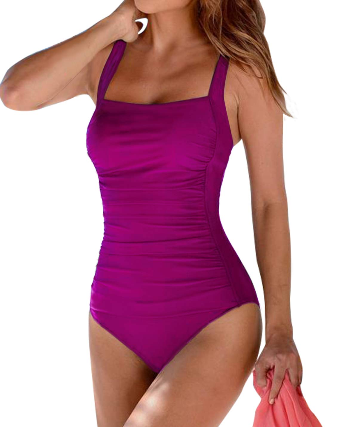 Upopby Women's Vintage Padded Push up One Piece Swimsuits Tummy Control Bathing Suits Plus Size Swimwear Rose 6
