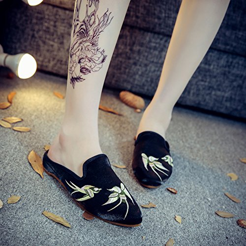 Womens Toe Flats Black Sandal Point Spring AvaCostume Embroidery Swallows dwXnSgxdqT
