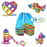 TOQIBO Magnetic Blocks Building Set Toys For Kids 58PCS Magnet Tiles Educational Building tiles Construction Toys For Boys Girls With Storage Bag