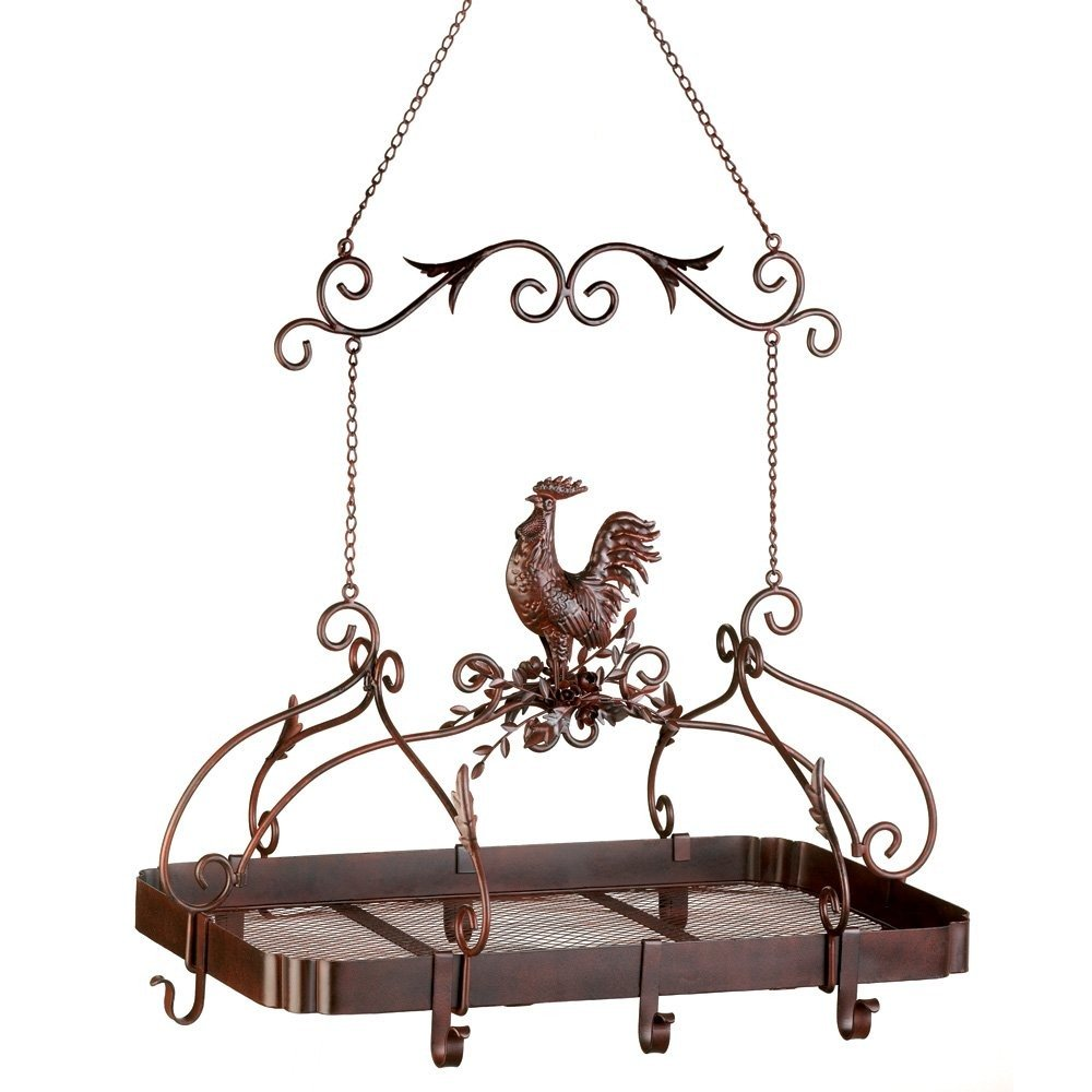 Smart Living Company 10012657 Pans Hanging Country Rooster Iron Antique Pot Rack with Hooks, None, Multi Colour