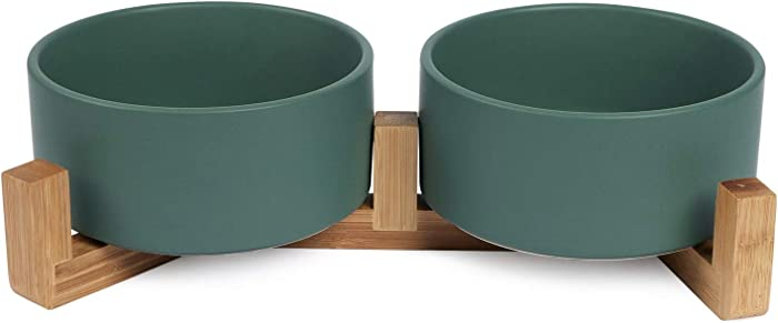 Ceramics Dog and Cat Bowl with Wood Stand Non-Slipped Bottom Food Water Feeder for Cat Medium Dog