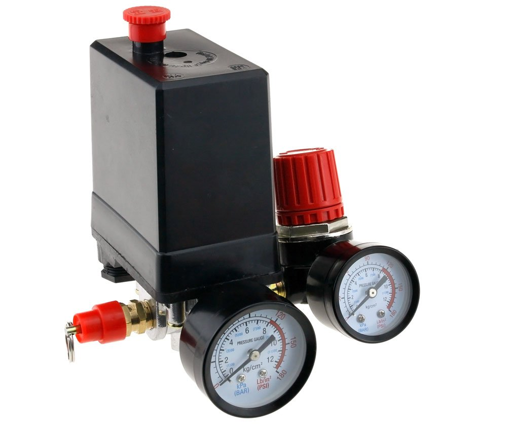 Three Phase Compressor Pressure Switch With Air Regulator & Gauge & Value