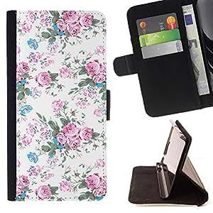 - White Pink Retro Wallpaper Design - Estilo PU billetera de cuero del soporte del tir???¡¯????n [solapa de cierre] Cubierta- For LG OPTIMUS L90 £š Devil Case £©