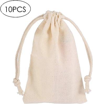 Bolsas de Lino, 10pcs Bolso Reutilizable con Cordón de Algodón ...