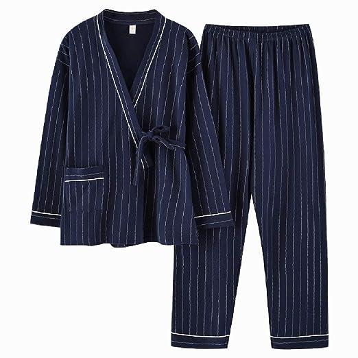 ShenZuYangShop Pijamas Azul Damas otoño algodón Ropa de ...