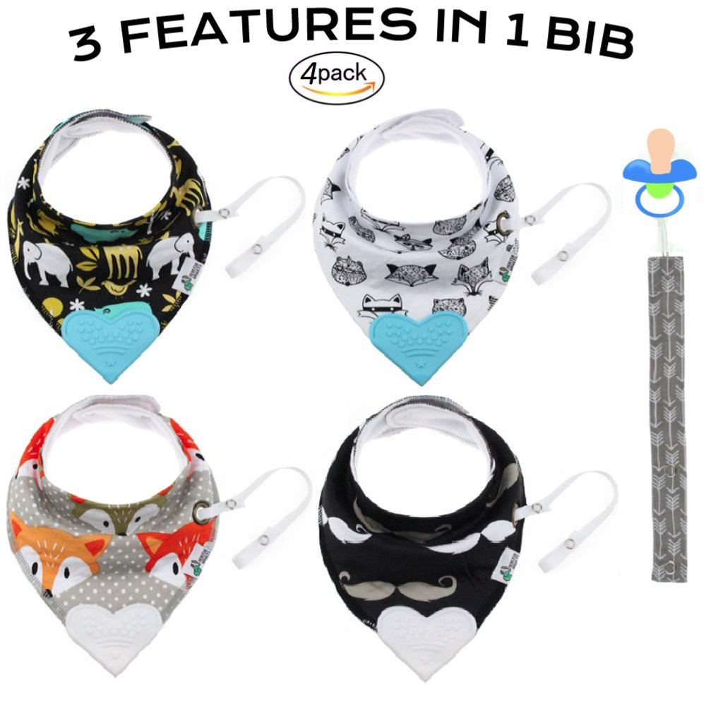 Tickles & Wiggles Organic Cotton Bandana Baby Bibs for Teething, Drool, Food - Shower Registry Gifts for Infants, Teether, Adjustable Snaps, Pacifier/Toy Tether
