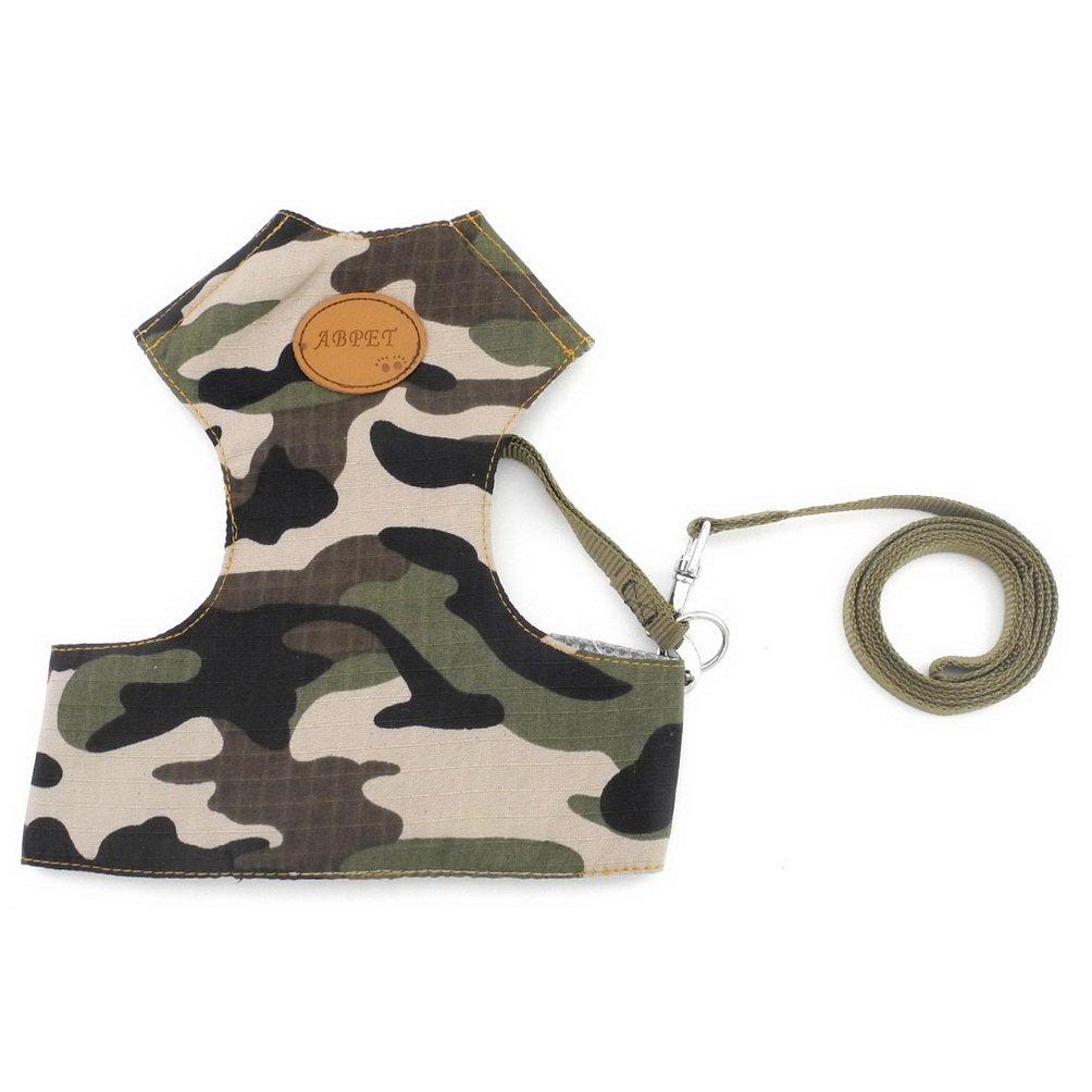 SELMAI Green Camo Dog Harness Leash Set for Small Pet Dog Cat Puppy Soft Mesh Padded Vest Harness Adjustable No Pull No Choke Comfort Control Traning ...