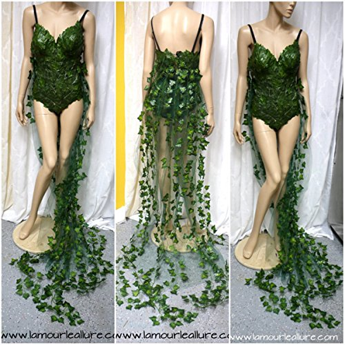 Full Poison Ivy Monokini Gown Dress Rave Bra Cosplay Costume]()