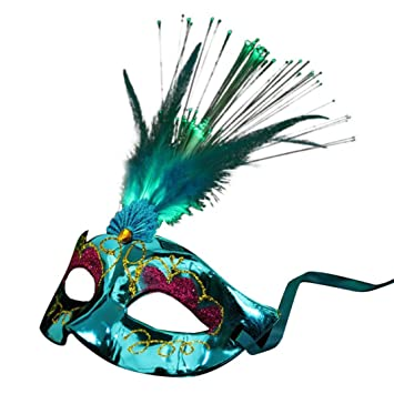 Lenfesh Party Feder LED Maske, Frauen Venezianisch LED Ballaststoff ...