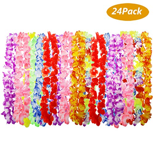 Philonext 24 Pack Hawaii Wreaths Leis, Hawaiian Ruffled Simulated Silk Flower Leis Artificial Flowers Necklaces Headband Neck Ring for Luau Party Home Decoration Supplies, Assorted Colors -