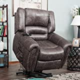 Harper&Bright Designs Smoky Brown Wilshire Series Heavy-Duty Power Lift Recliner Chair