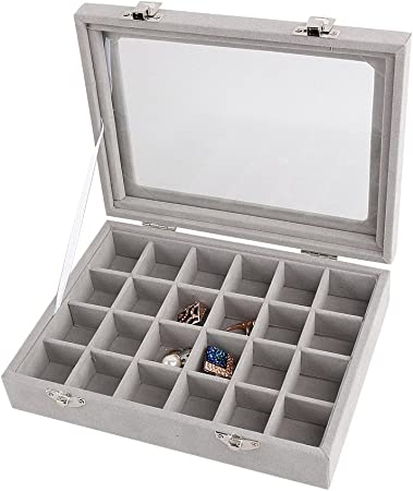 Baifeng - Caja de Almacenamiento de joyería de Terciopelo para organizar Anillos y Pendientes, Collares y Pulseras: Amazon.es: Hogar
