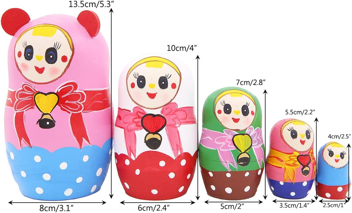Adorable Ears Girl with Bowknot Dot Colorful Nesting Dolls Set 5 Pieces Handmade Wooden Matryoshka Crafts Russian Doll for Kids Toy Birthday Christmas New Year Gift Home Decoration