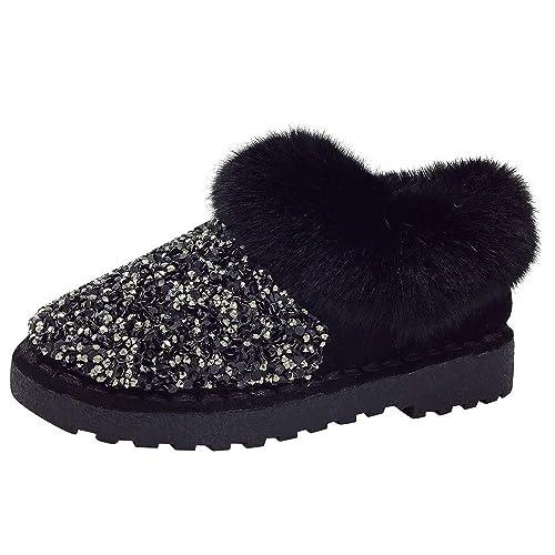 Botines de Nieve Plataforma Mujer Invierno PAOLIAN Botas Tobillo bajo Forradas Terciopelo Calentar Zapatos con Lana Lentejuelas Señora Cómodo Calientes ...