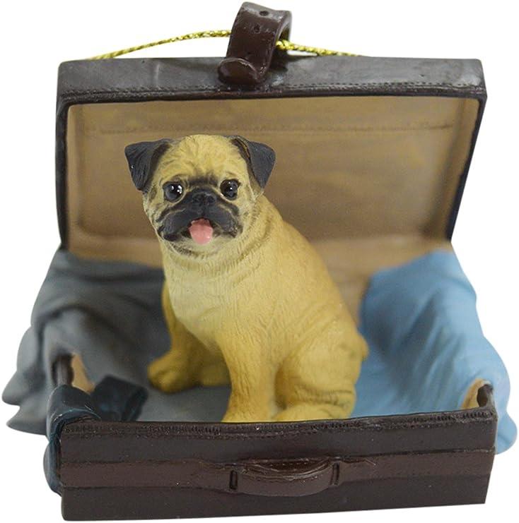 Amazon Com Brown Pug Traveling Companion Dog Ornament Kitchen Dining