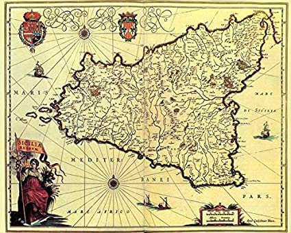 image relating to Printable Map of Sicily titled Imagekind Wall Artwork Print Enled Typical Map of Sicily Italy (1600S) via Alleycatshirts @Zazzle 20 x 16