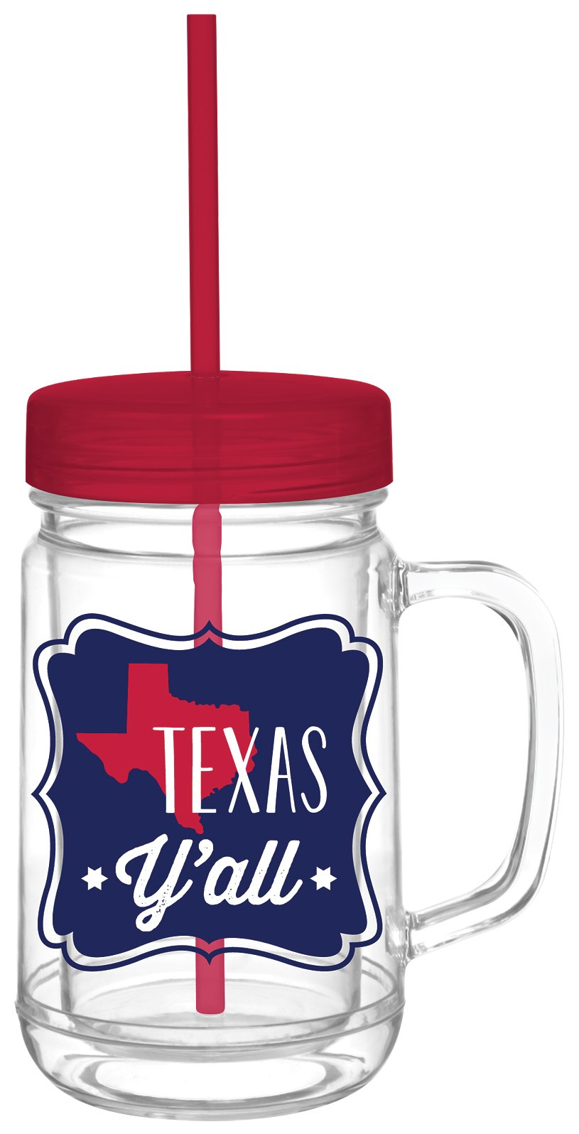 Texas Y'all Acrylic Double Wall Mason Jar with Lid and Straw