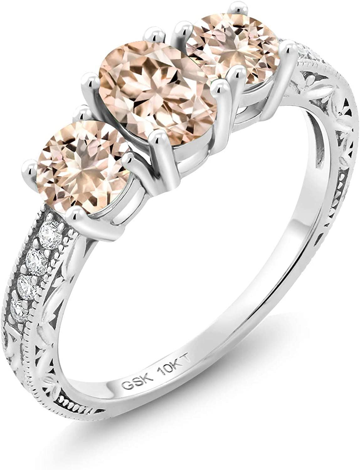 Gem Stone King Peach Morganite 10K White Gold Lab Grown Diamond 3 Stone Women Engagement Ring (1.49 Ct Oval Available in size 5, 6, 7, 8, 9)