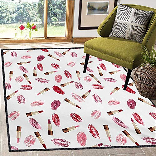 (Cosmetics, Area Rug Hallway Runner, Beauty Theme Pink and Burgundy Lipstick and Kiss Pattern Makeup Concept, Bath Mat Non Slip 6x9 Ft Burgundy and Pink)
