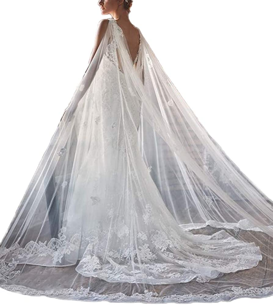 Faithclover Wedding Veils Ivory 2 Tier Full Length Edge Cathedral Long Train with Comb