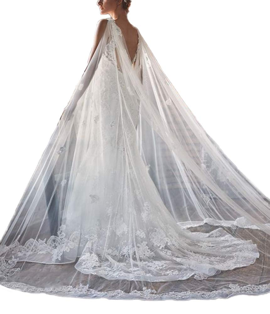 Faithclover Wedding Capes Tulle Cathedral Bridal Wraps Lace Eged Long Train Jacket