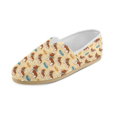Dog Drinking Background Canvas Slip-on Loafer For Men