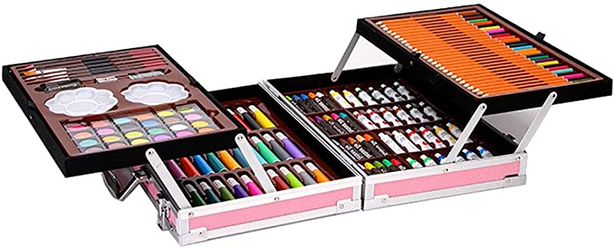 Ledi Painting Art Set 98 Pieces Pink Wooden Box Painting Set Gift Crayon Watercolor Pen Birthday Gift for Kids