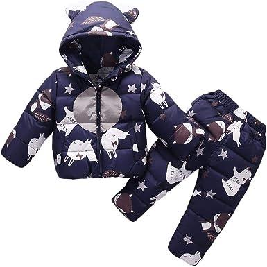 M/&A Baby Girls Boys Winter Puffer Snowsuit Infant Toddler Cartoon Warm Hooded Jumpsuit