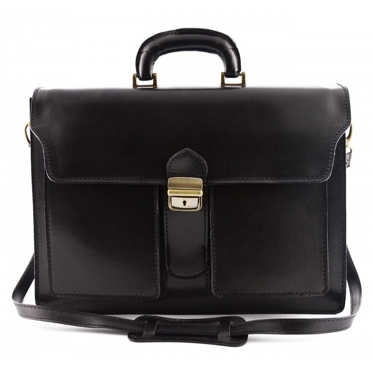 Made In Italy Genuine Leather Professional Briefcase 3 Compartments And 2 Pockets Color Black - Business Bag   B0177FAVWC