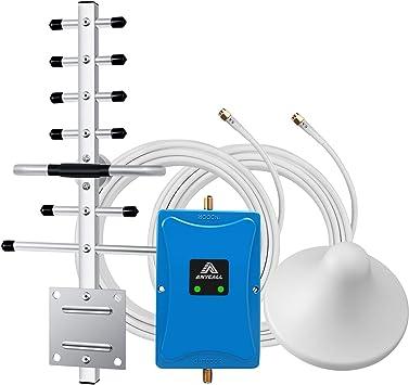 ANYCALL LTE gsm Amplificador de Señal 900/2600MHz Celular Repetidor Llamadas de Voz y Datos 4G 3G con Antena de Techo y Yagi Direccional para ...
