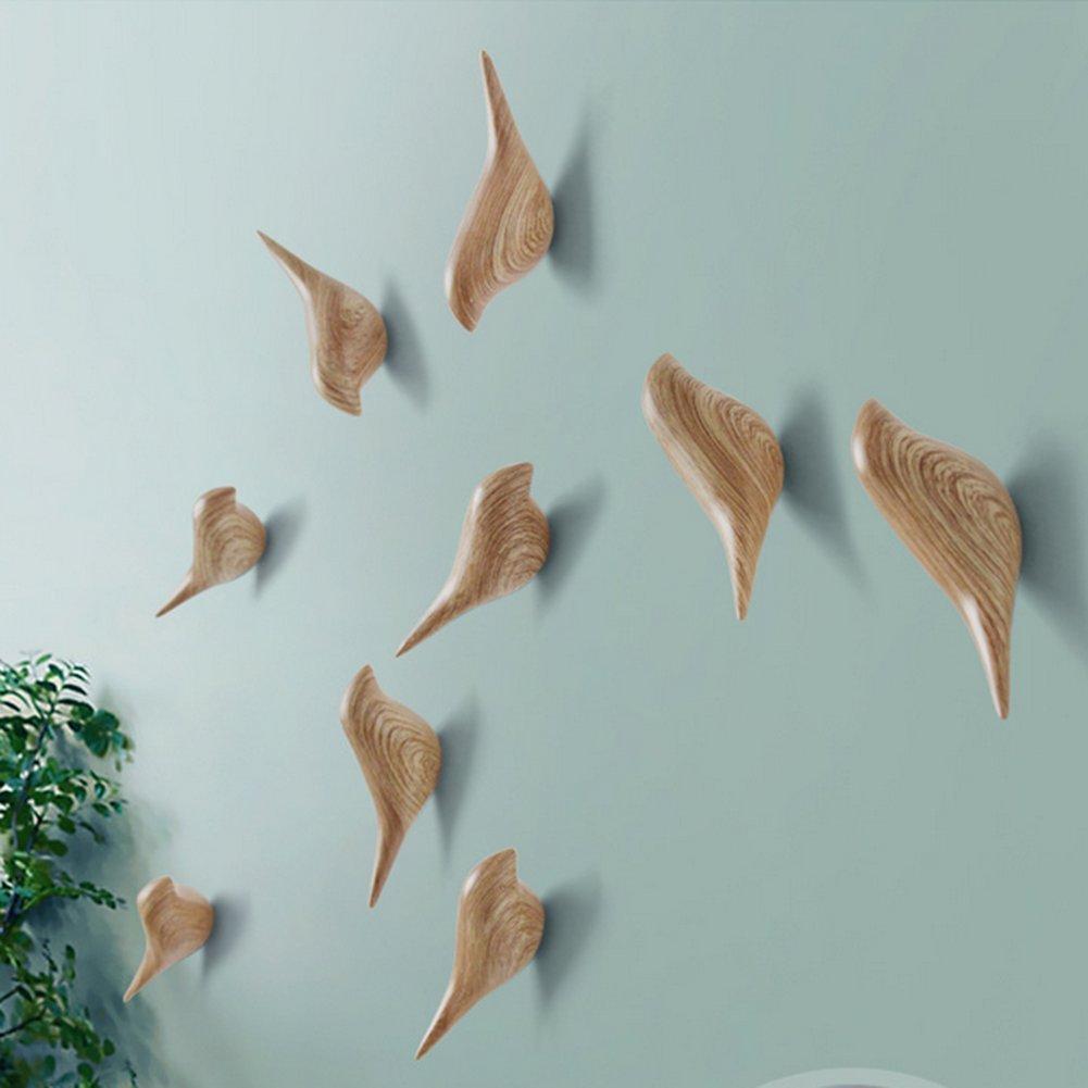 wuudi uccello a forma di ganci, home supply resina decorazione da parete, ganci creativi della famiglia di ganci per appendere i vestiti con linee di legno