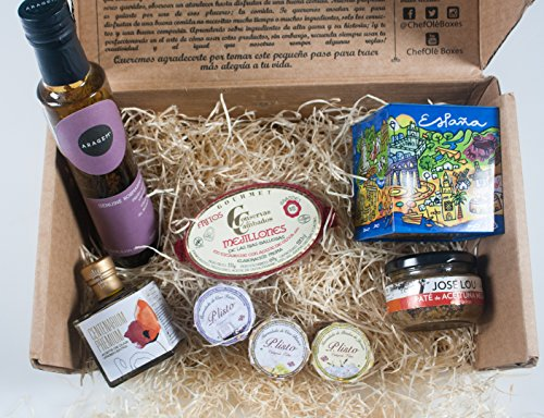 Gourmet, Gift Baskets-Imported from Spain-Gourmet Baskets Gifts-6 Premium products-Artisan Olive Oil,Galicia Mussels,Olive Pate,Homemade Jams,Craft cookies,Rosemary Vinegar.Chef Ole Miro Gift Baskets