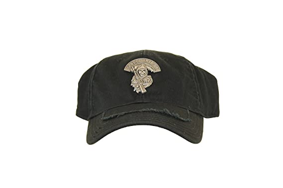 068b249f499 TV Store Soa Sons Of Anarchy Stretch Black Fitted Baseball Cap Hat With  Silver Metal (