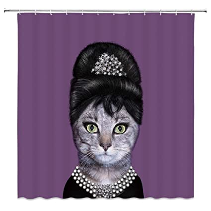 Polyester Shower Curtain Bath Curtains Set Water Resistant Fabric Cat Face
