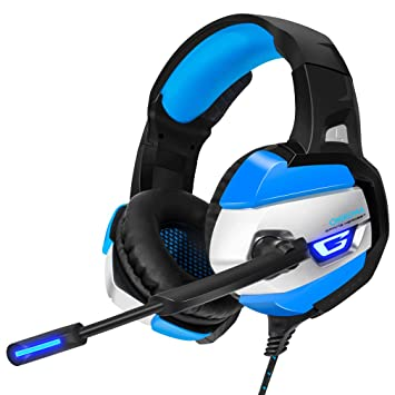 Gaming Headset, Gamer Casque Deep Bass Auriculares para PC Ordenador PS4 Laptop Notebook con Micrófono LED,Blue: Amazon.es: Deportes y aire libre