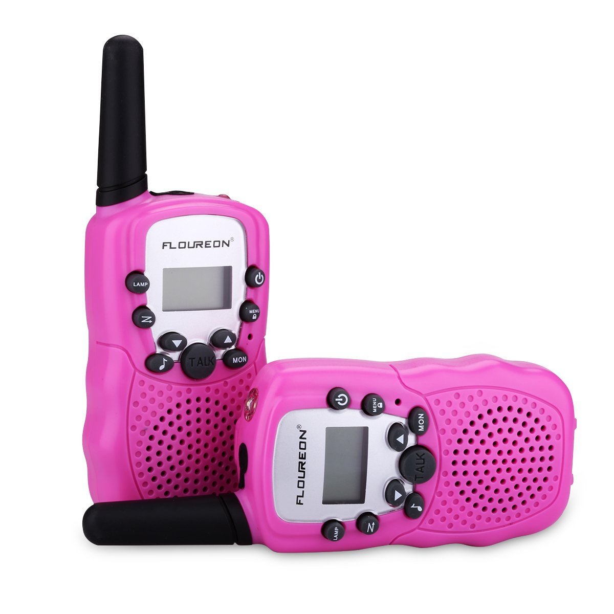 FLOUREON Walkie Talkies 4 Packs Two Way Radio for Kids with 8 Channel Long Range for Home Communication-Pink