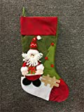 "Tanxih 1 Pcs Christmas Stockings Decorations 3D Christmas Gift Bag Large Christmas Candy Bag Toy Socks Hanging Decorations, 17"" x 9.5"" (Santa)"