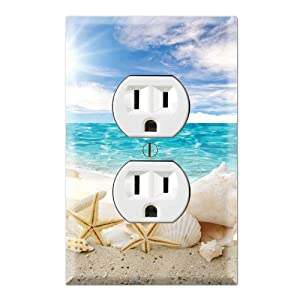 Graphics Wallplates - Seashells Ocean White Sand Beach- Duplex Outlet Wall Plate Cover