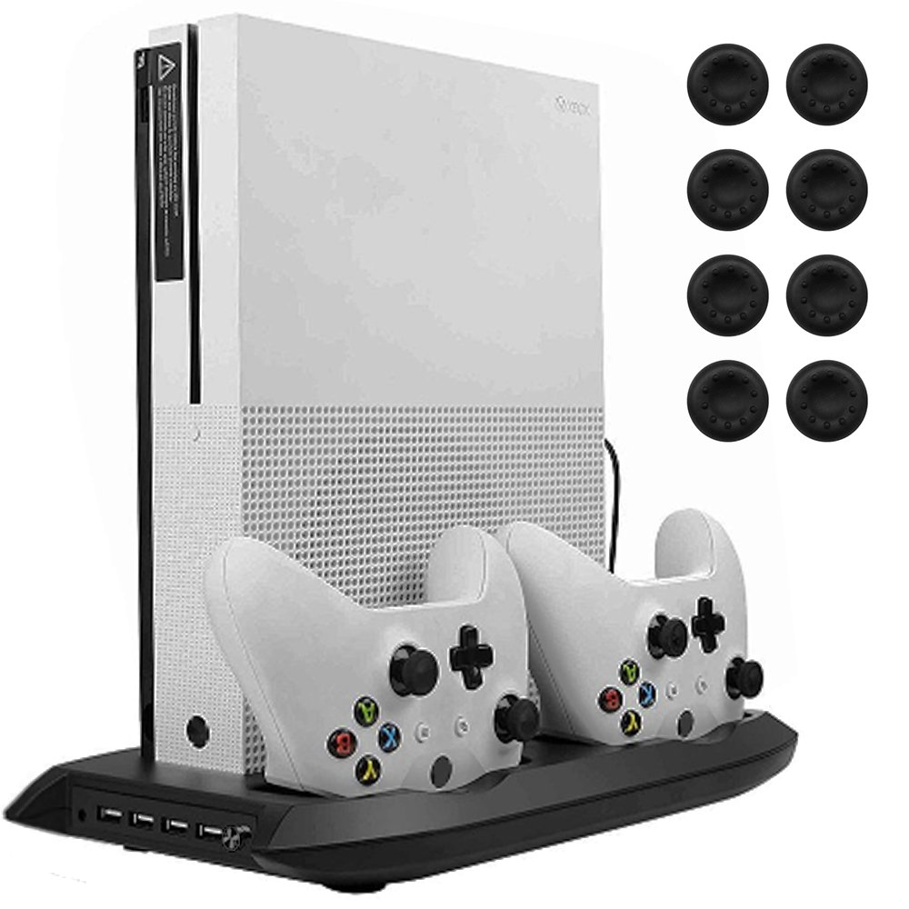 Lictin Xbox One S Vertical Stand Cooling Fan with Dual Charging Station for 2 Xbox One S Controllers + 8 Silicone Thumbs for Xbox One S Controller by Lictin