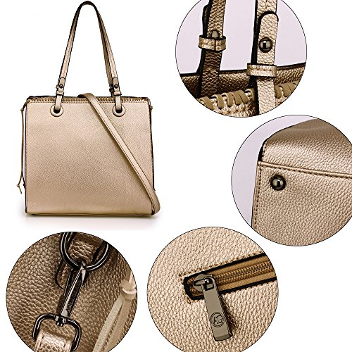 Designer Gold Faux Bag Ladies Zipper Design Gorgeous Handbag Leather Front Women Unique Shoulder Design Large Style Handbag 2 Look New For xRI44q
