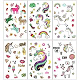 FRESHOER 300pcs Unicornio Tatuajes temporales Falso Tatuajes Pegatinas para niños niñas Fiestas Infantiles Unicornio cumpleaños de niños Regalo piñata
