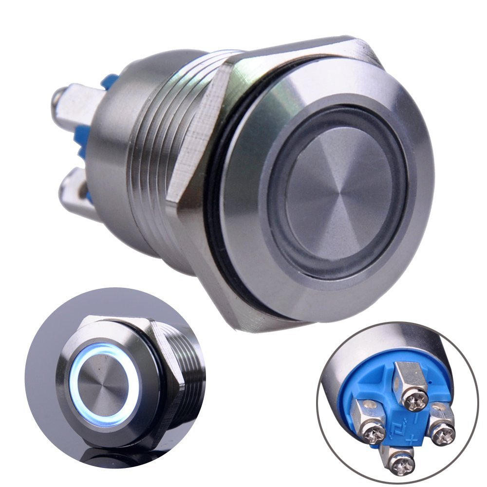 API-ELE 16mm Latching Push Button Switch 12V DC Angel Eye Halo Ring LED Metal1NO1NC SPDT With Wire Socket Plug 3 year warranty WHITE