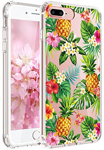 JAHOLAN iPhone 7 Plus Case, iPhone 8 Plus Case Girl Floral Clear TPU Soft Slim Flexible Silicone Cover Phone Case for iPhone 7 Plus iPhone 8 Plus - Pineapple Flower