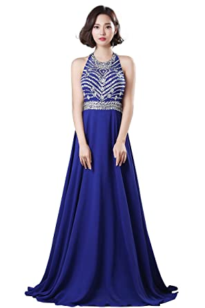 Womens Beaded Sleeveless Royal Blue Long Prom Dress Cut Out Back ...