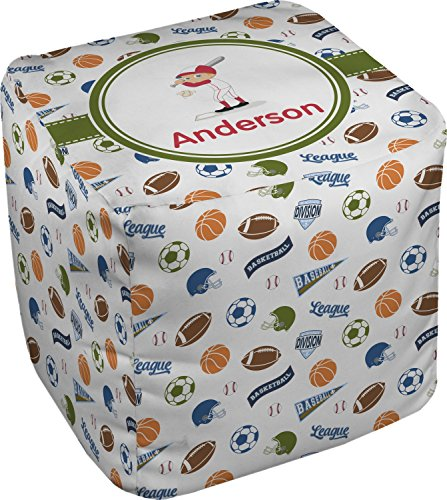 Sports Cube Pouf Ottoman - 18'' (Personalized) by RNK Shops