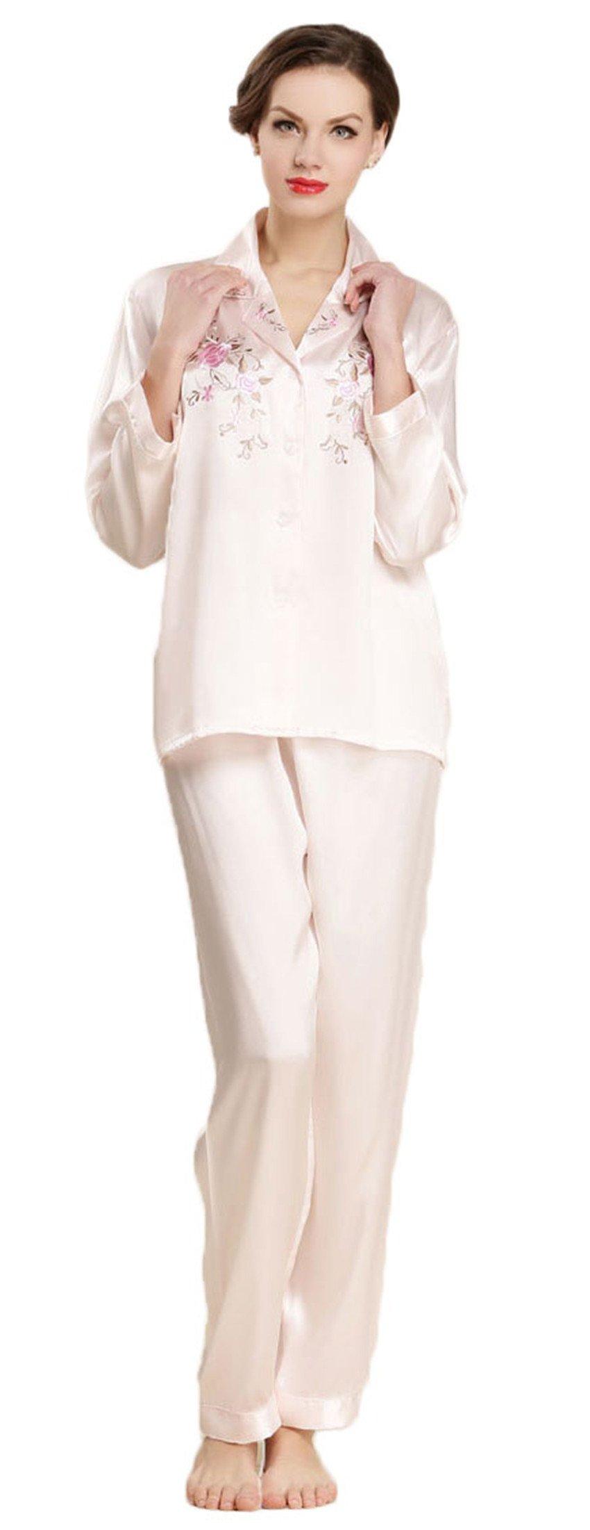 Women's Pure Mulberry Silk Pajama Set Embroidered Classic Luxury Sleepwear qianfen M