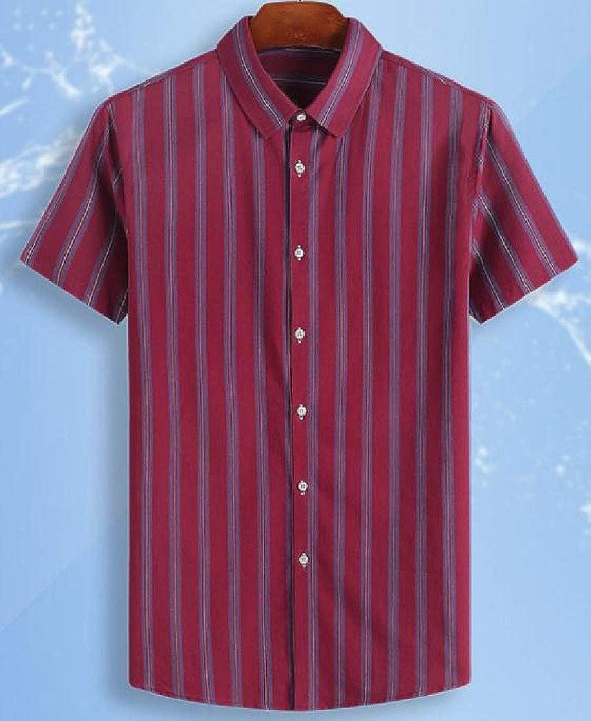 Mfasica Men Striped Turn Down Collar Short Sleeve Casual Plus-Size Dress Shirts