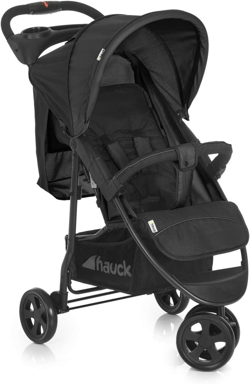 Hauck Citi Neo II - Silla de paseo de 3 ruedas, 0 meses - 15 kg, respaldo reclinable, plegado compacto, plegado con solo una mano, bandeja con botellero, negro/gris
